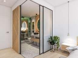 Metroeuropa Sevilla. Interiorismo Infografía 3D Baño Boho Chic